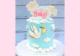 Cute and Easy Stork Baby Shower Cake Tutorial
