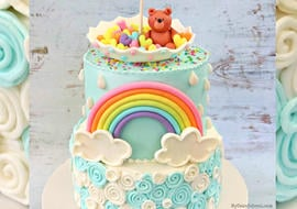 CUTE Teddy Bear and Rainbow Themed Baby Shower Cake Video Tutorial by MyCakeSchool.com