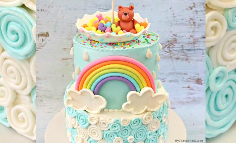 CUTE Teddy Bear and Rainbow Themed Baby Shower Cake Video Tutorial by MyCakeSchool.com