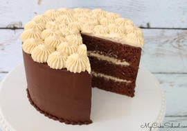 Chocolate Cake with Caramel Mousse Filling
