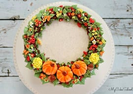 Beautiful Fall Wreath Cake Tutorial