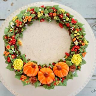 Beautiful Fall Wreath Cake Tutorial