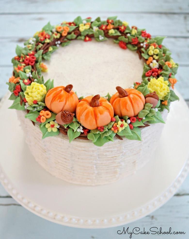 Fall Wreath Cake Decorating Video Tutorial