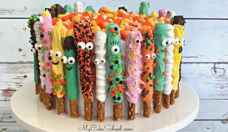 Pretzel Monster Cake- Free Halloween Cake Video