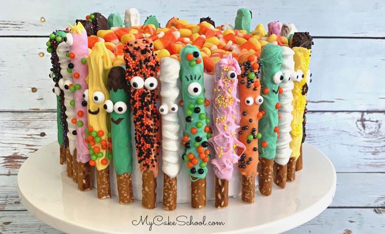 Pretzel Monster Cake- Free Halloween Cake Video