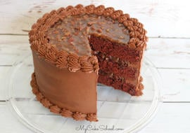 Moist and decadent Chocolate Pecan Pie Cake Recipe