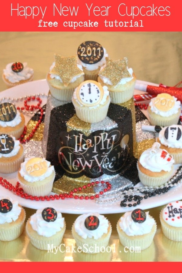 Cute and Easy Happy New Year Cupcake Tutorial