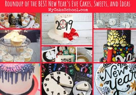 Roundup of the BEST New Year's Eve Cake Tutorials, Recipes, Ideas, and more! MyCakeSchool.com