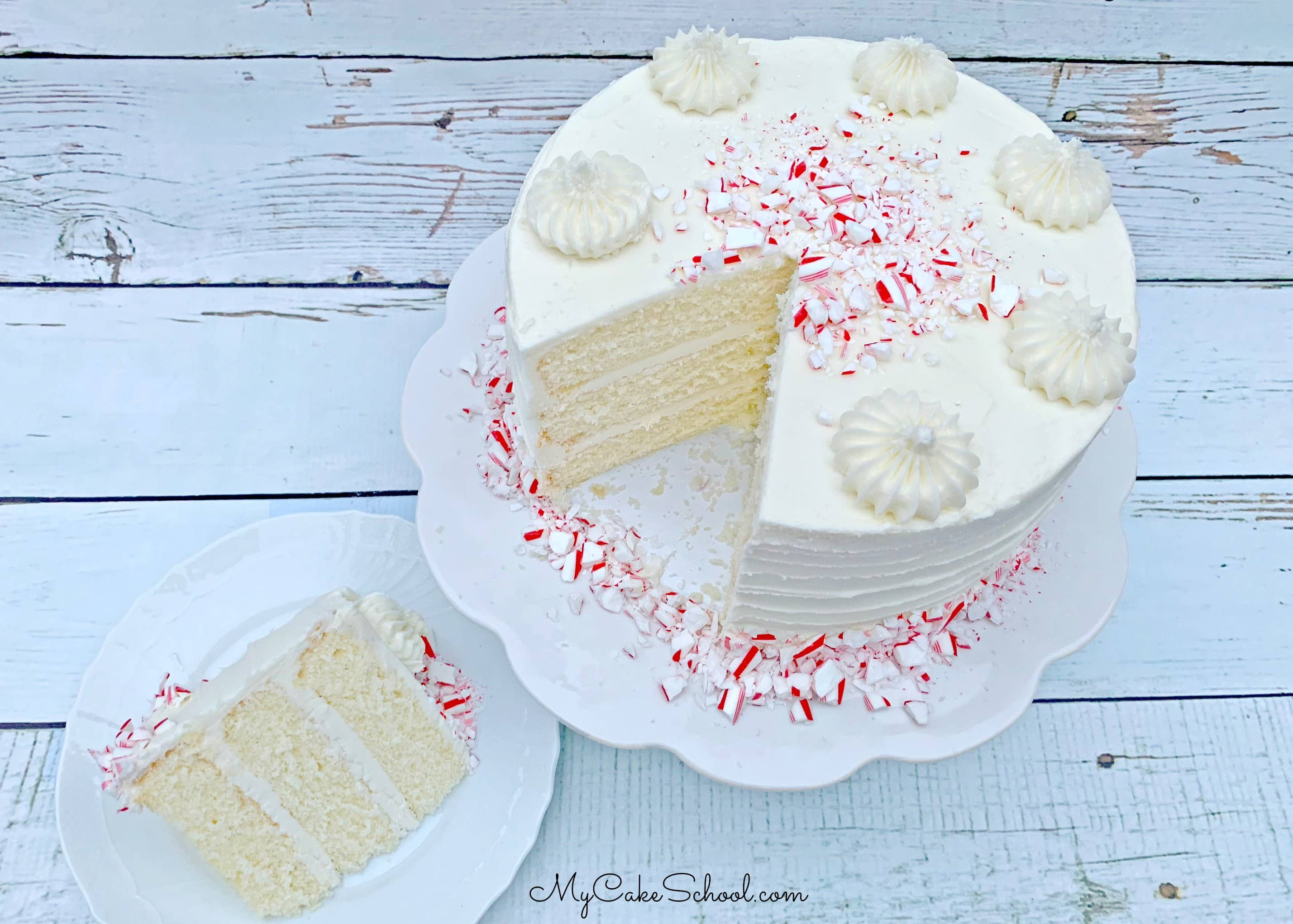 White Chocolate Peppermint Cake is perfect for Christmas parties!