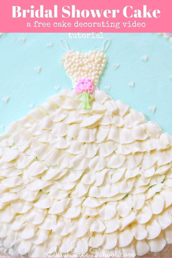 Easy and Beautiful Bridal Shower Cake- A free cake decorating video tutorial by MyCakeSchool.com