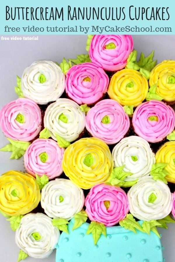 Beautiful Buttercream Ranunculus Cupcakes- A free cake decorating video tutorial by MyCakeSchool.com