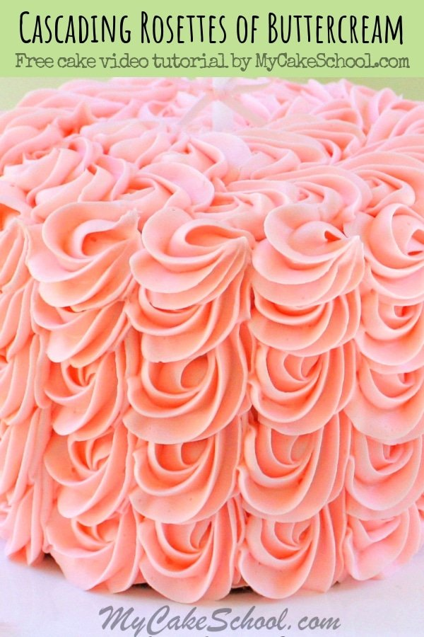 Elegant Cascading Rosettes of Buttercream- A free cake decorating video tutorial by MyCakeSchool.com
