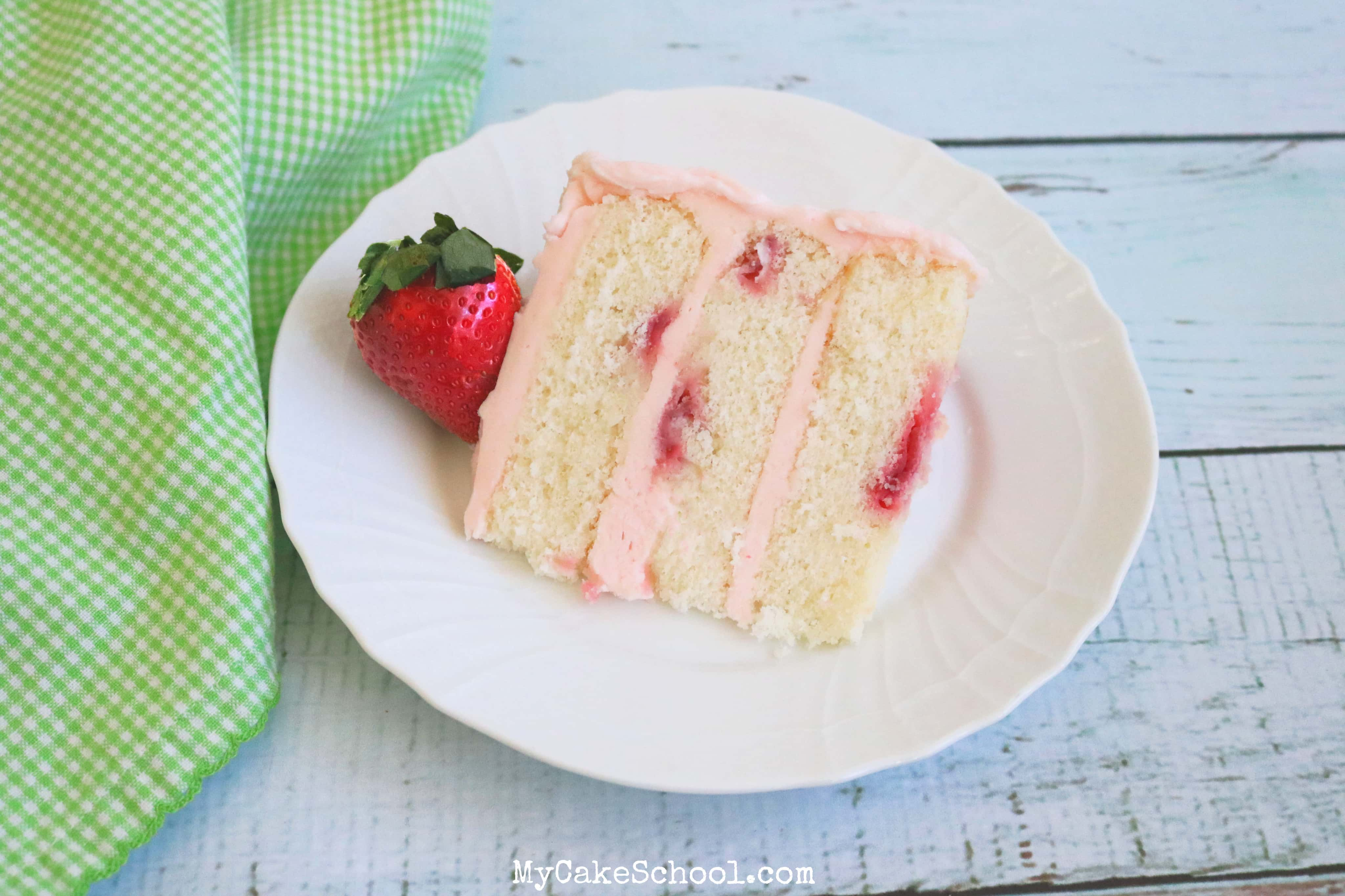 Moist and flavorful Champagne and Strawberries cake recipe by MyCakeSchool.com
