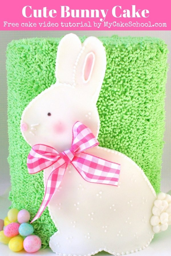 Cute Bunny Cake- Free video tutorial by MyCakeSchool.com