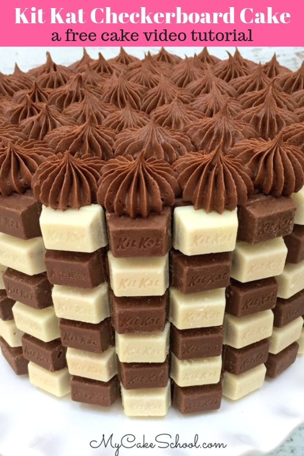 Kit Kat Checkerboard Cake- A free cake video tutorial by MyCakeSchool.com