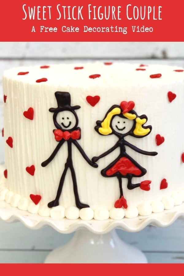 Sweet Stick Figure Couple- A sweet cake decorating video tutorial