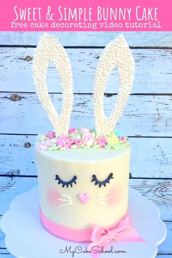 Sweet and Simple Bunny Cake- A Free Cake Decorating Video Tutorial by MyCakeSchool.com