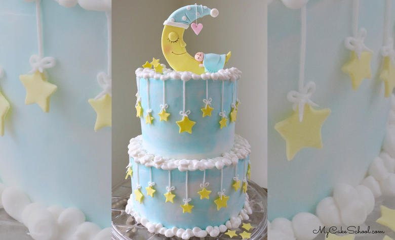 Learn how to make this adorable Baby and Moon Cake Tutorial by MyCakeSchool.com, featuring a moon and stars as well as a CUTE cake topper!