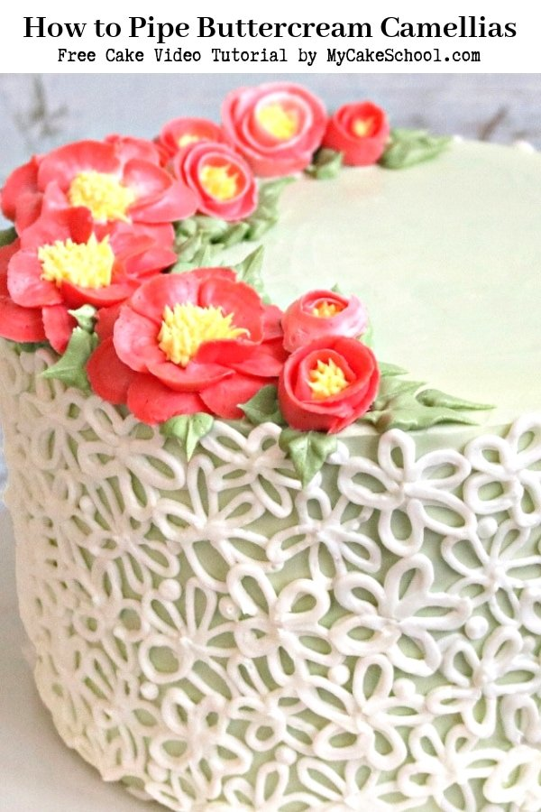 Buttercream Camellia Flower Piping- A free cake video tutorial by MyCakeSchool.com