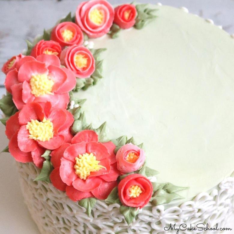 Buttercream Camellia Flowers Cake Decorating Video Tutorial by MyCakeSchool.com