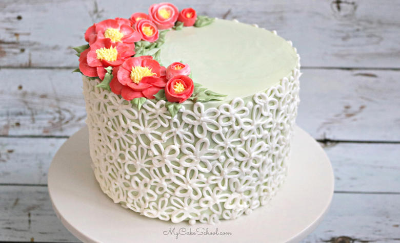 Buttercream Camellias and Elegant Piping- A Free Cake Video