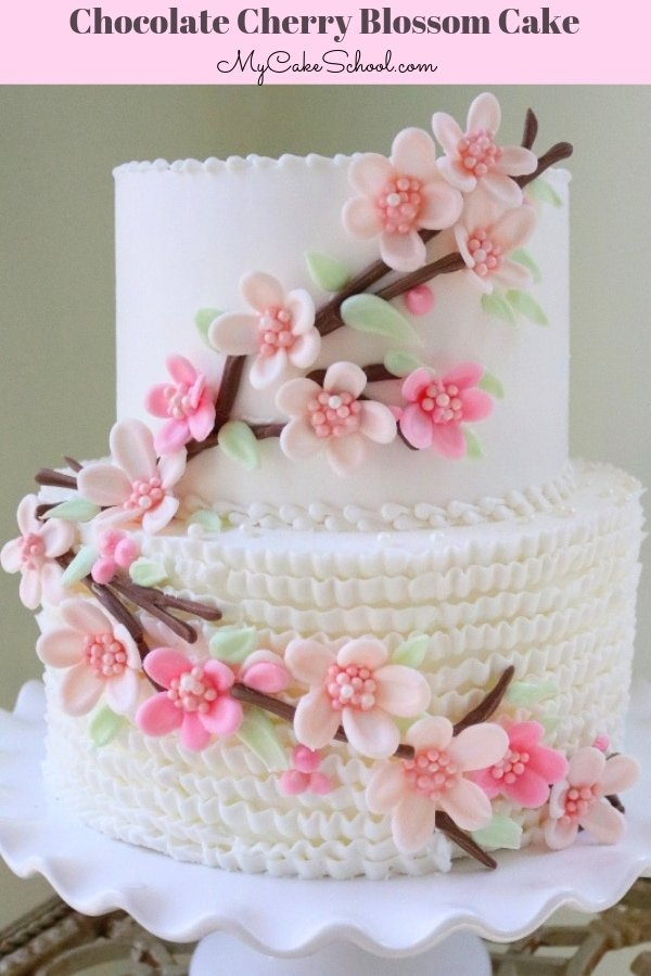 This beautiful cherry blossom cake is so simple to create with simple candy coating!