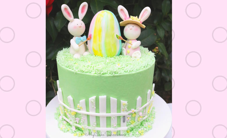 Adorable Bunnies with Easter Egg! A cute Easter Cake tutorial by MyCakeSchool.com (member section)
