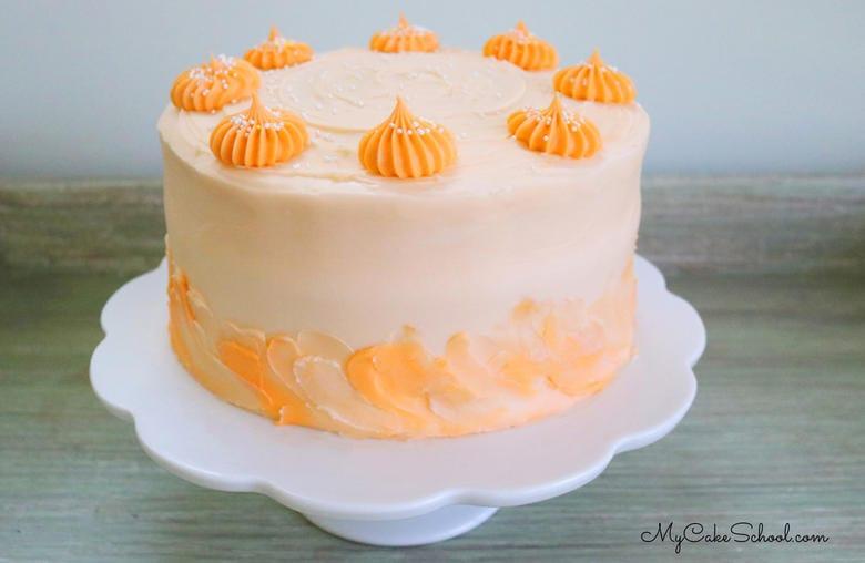 Delicious Lemon Orange Layer Cake with Lemon Cake Layers, Orange Curd, and Orange Cream Cheese Frosting