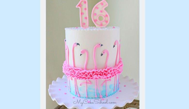 Flamingo Ruffle Cake- A Cake Decorating Video Tutorial