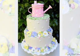 Beautiful Buttercream Pansy Garden Cake Video Tutorial