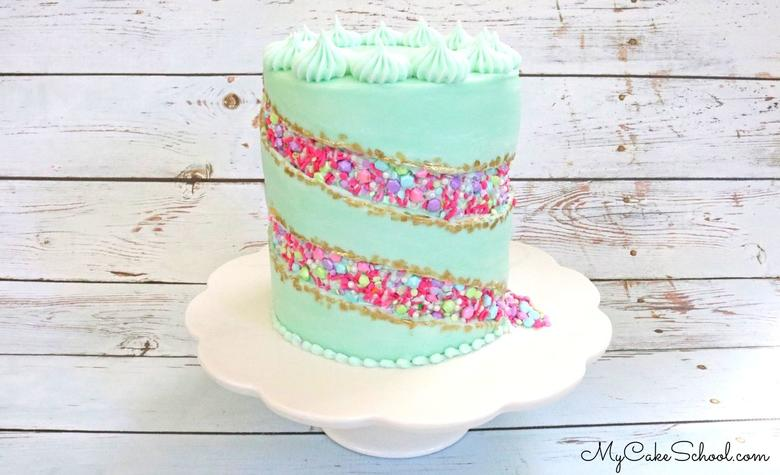 This Sprinkle Fault Line Cake design is a fun new cake trend! So colorful & unique, and surprisingly simple!