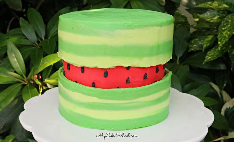 Watermelon Fault Line Cake- Free Cake Decorating Video Tutorial