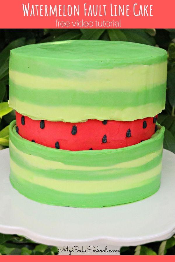 Watermelon Fault Line Cake- Free Video Tutorial