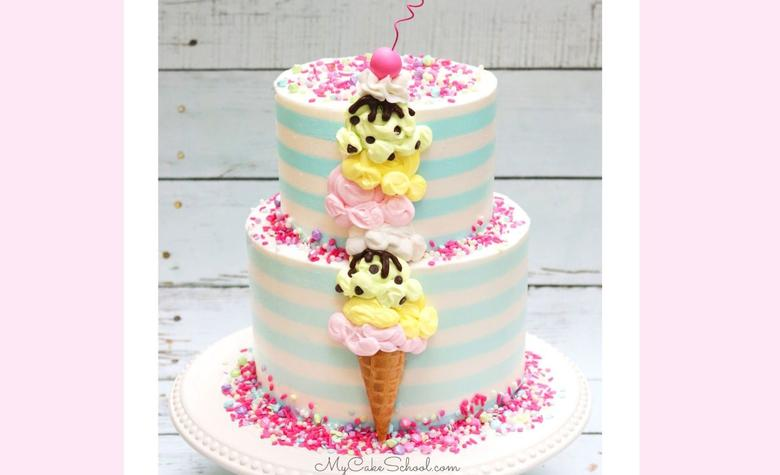 Ice Cream Cone Cake- A Free Cake Decorating Video Tutorial