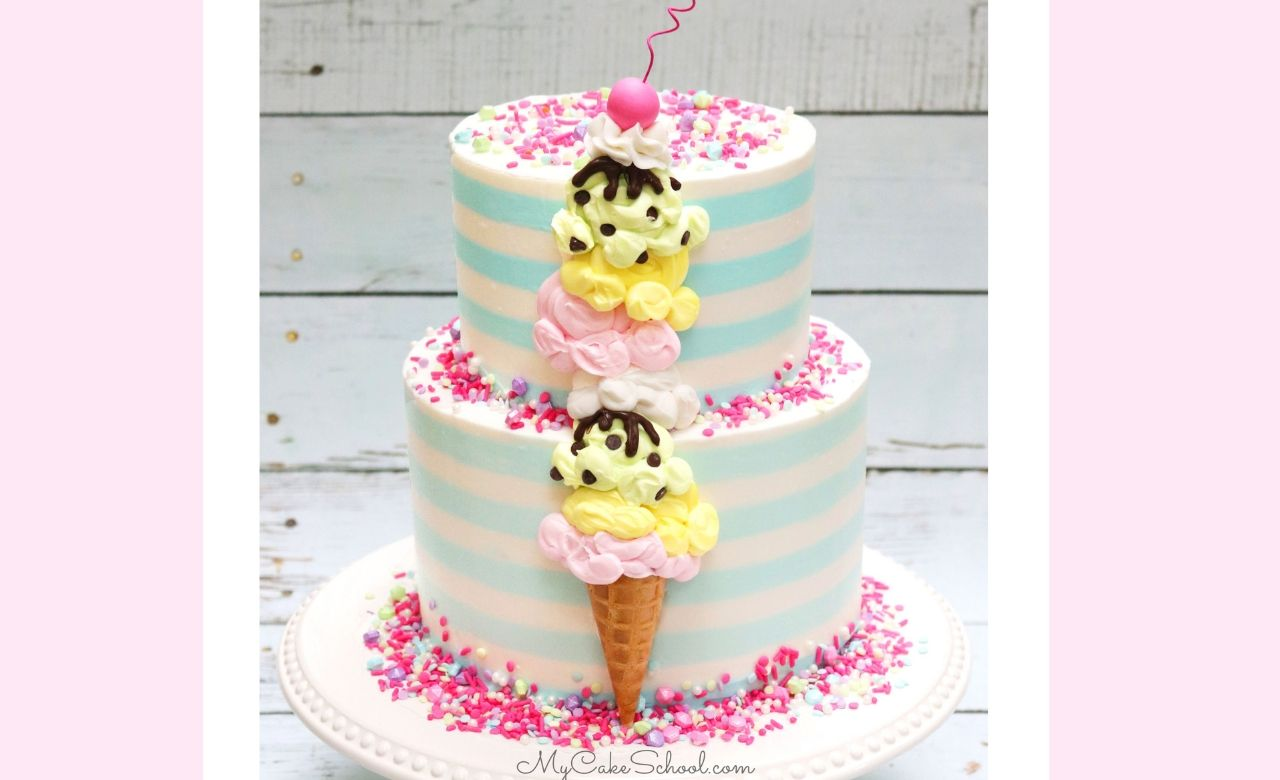 How to Make an Ice Cream Cone Cake- Free Cake Tutorial! This sweet ice cream themed cake is perfect for ice cream parties, summer birthdays, kids birthdays, or for the ice cream lovers in your life!