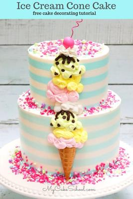 Ice Cream Cone Cake- Perfect for summer parties, ice cream parties, kids' birthdays, and more! Free Video Tutorial