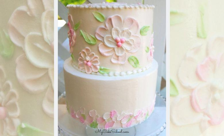 Textured Buttercream Flowers - A Spin on Palette Knife Painting