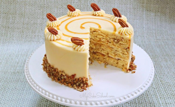 Toffee Pecan Caramel Cake with Caramel Cream Cheese Frosting