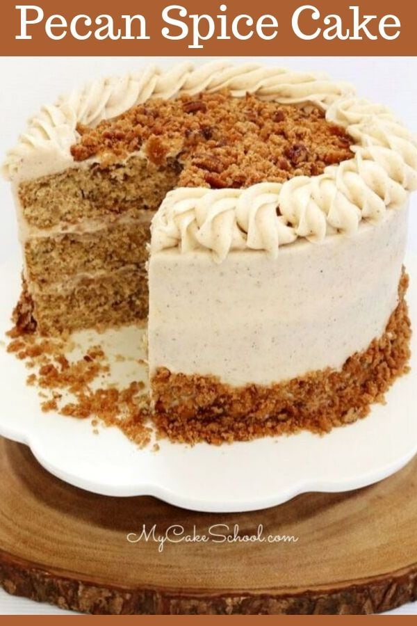 This moist Pecan Spice Layer Cake is so flavorful! The perfect cake recipe for fall!