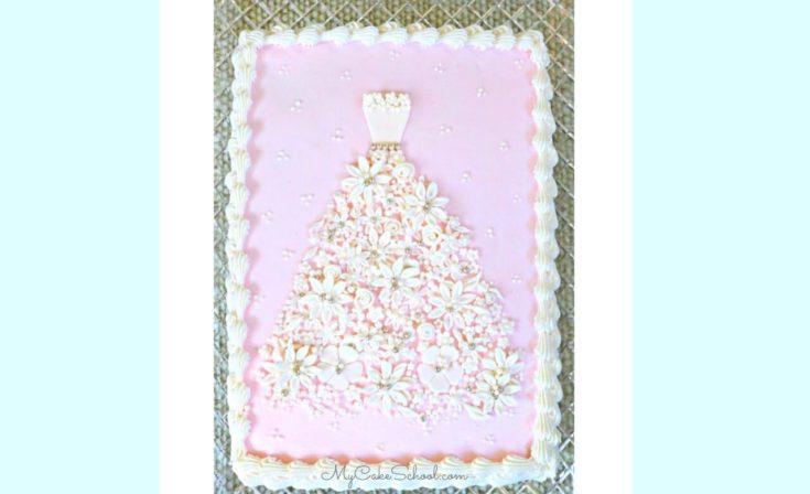 Floral Wedding Dress Cake Video Tutorial