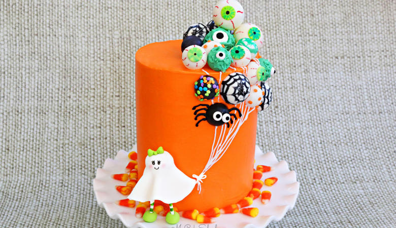 Ghost with Balloons Cake- A Halloween Cake Video Tutorial
