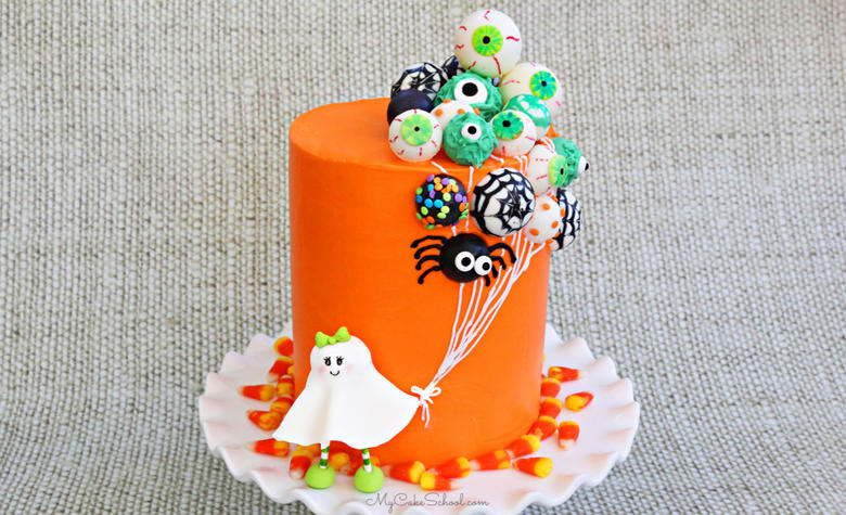 This ghost and balloons cake is so much fun for Halloween!