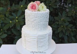 Elegant Stencil and Ruffle Cake