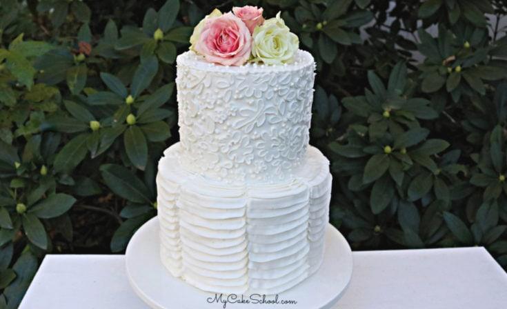 Elegant Stencil and Ruffle Cake in Buttercream