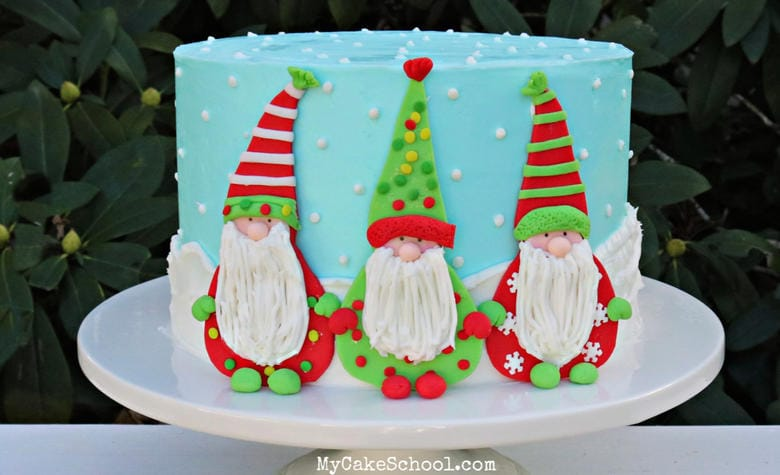 Winter Gnomes Cake Tutorial by MyCakeSchool.com. Perfect for Christmas and winter parties!