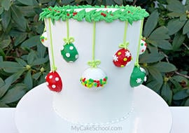Hanging Ornaments Cake Tutorial by MyCakeSchool.com. This cake is perfect for the holidays!
