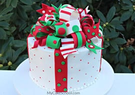 Loopy Christmas Bow Cake Tutorial- So much fun for holiday entertaining!