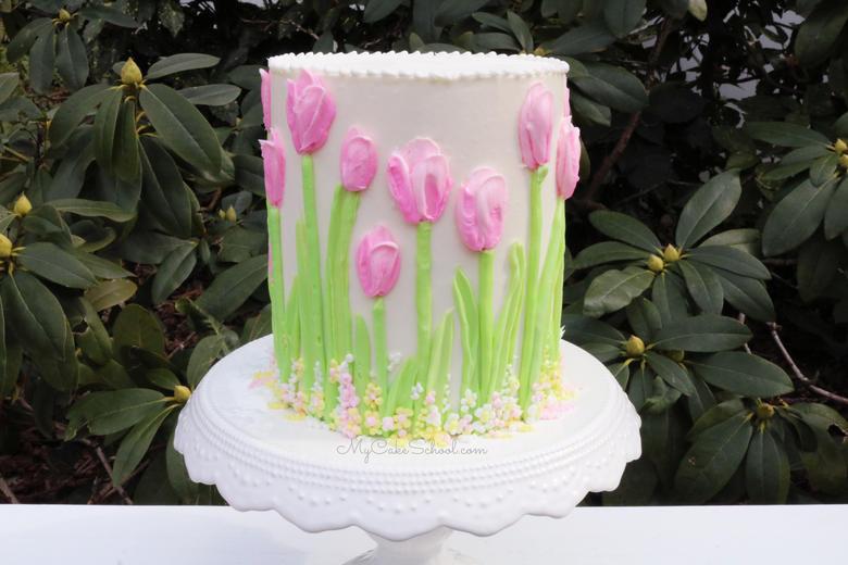 Buttercream Tulip Cake Decorating Video Tutorial