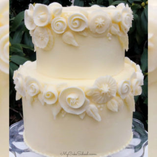 Elegant White Buttercream Flowers Cake Video Tutorial