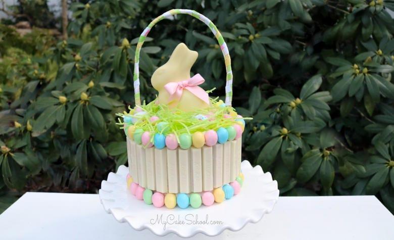 Kit Kat Easter Basket Cake Tutorial- This beautiful cake design is so easy to make!